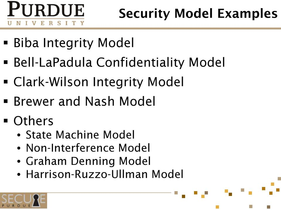 Integrity Model Brewer and Nash Model Others State