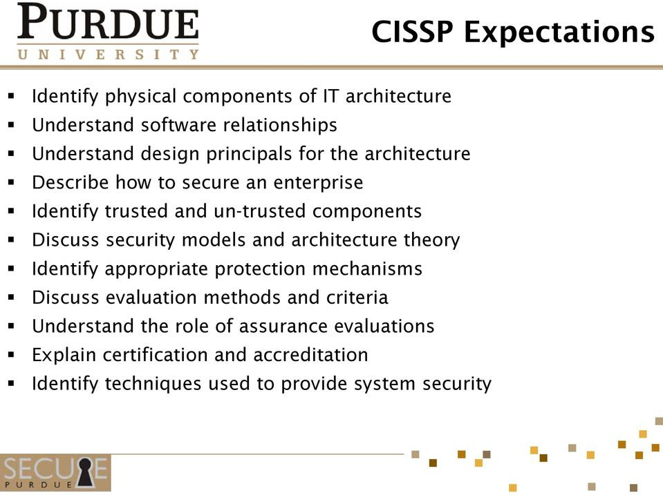 security models and architecture theory Identify appropriate protection mechanisms Discuss evaluation methods and criteria