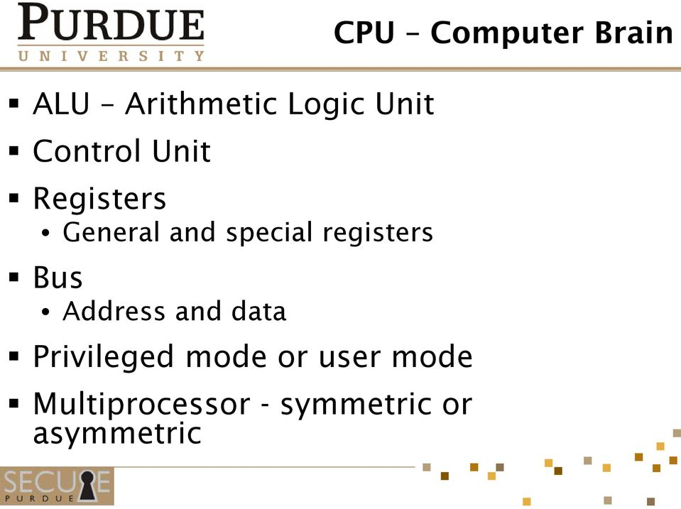 Address and data Privileged mode or user mode