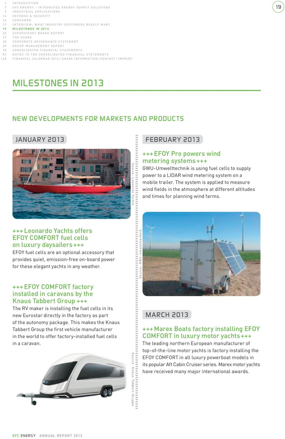 calendar 2014 / SharE InFormatIon / contact / ImPrInt 19 milestones in 2013 NEw developments FoR markets ANd products JANuARY 2013 +++ Leonardo Yachts offers EFOY COMFORT fuel cells on luxury