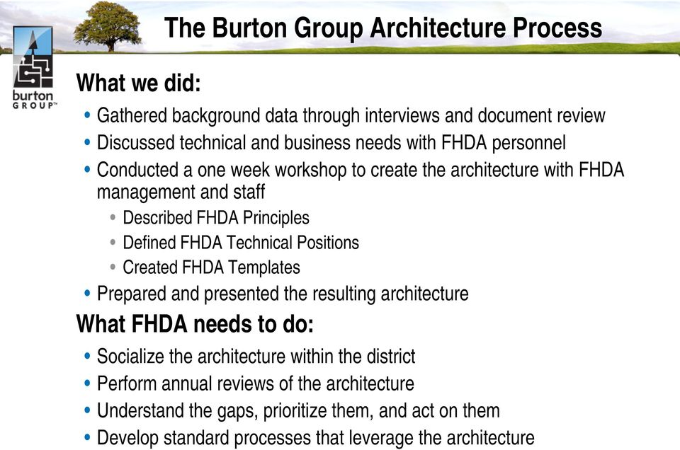 Technical Positions Created FHDA Templates Prepared and presented the resulting architecture What FHDA needs to do: Socialize the architecture within the