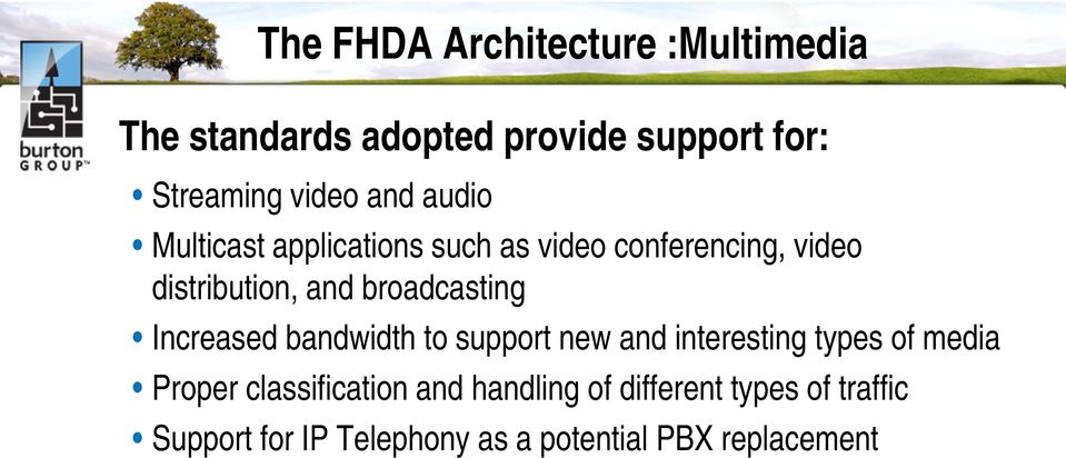broadcasting Increased bandwidth to support new and interesting types of media Proper