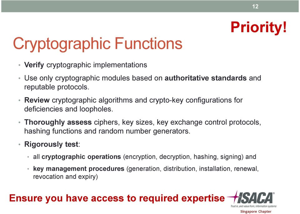 Review cryptographic algorithms and crypto-key configurations for deficiencies and loopholes.