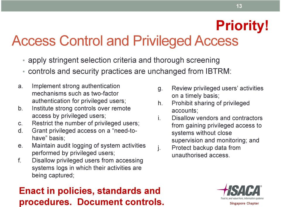 Restrict the number of privileged users; d. Grant privileged access on a need-tohave basis; e. Maintain audit logging of system activities performed by privileged users; f.