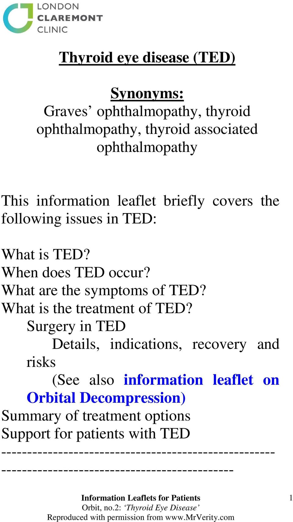 What is the treatment of TED?