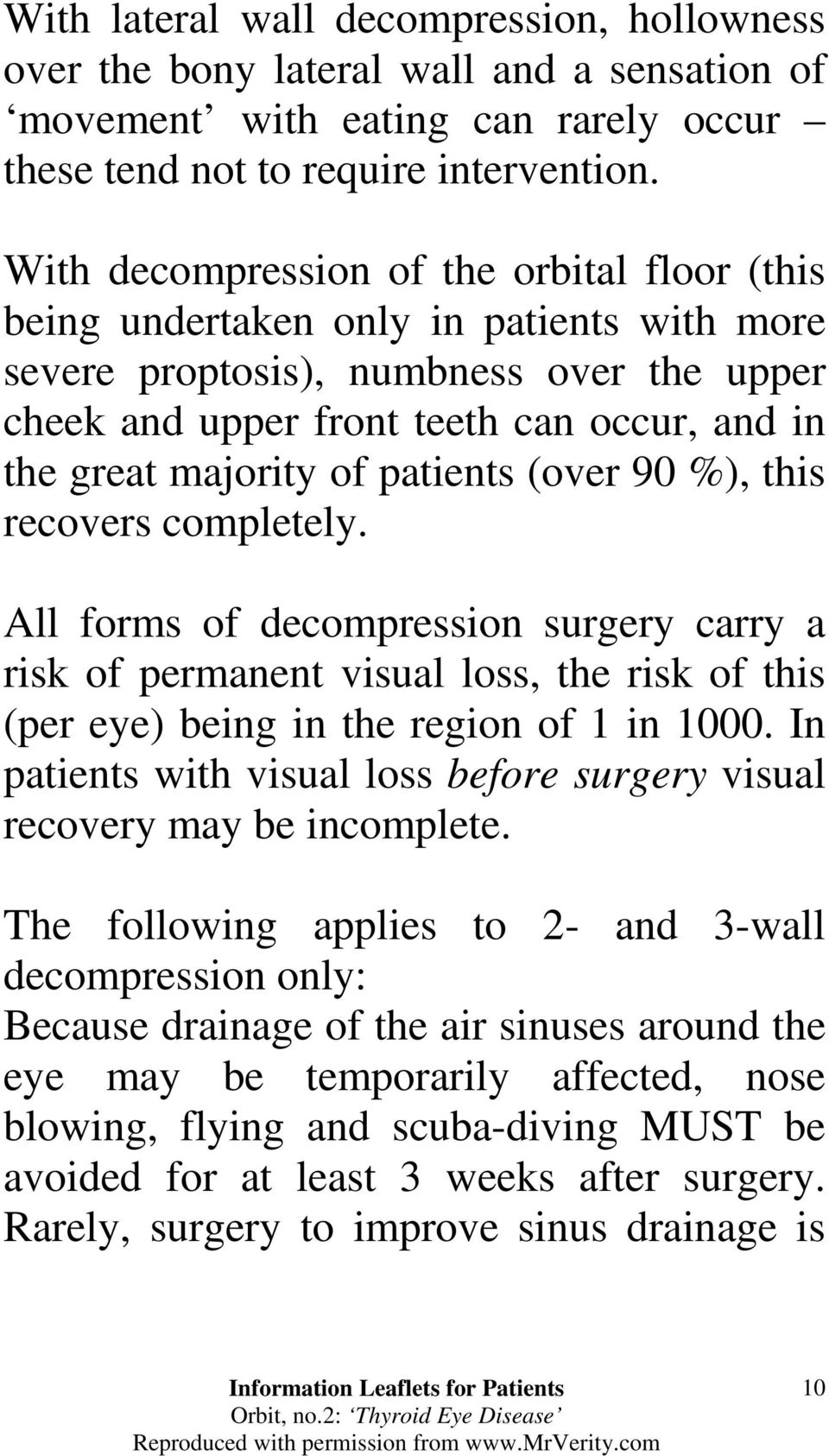 of patients (over 90 %), this recovers completely. All forms of decompression surgery carry a risk of permanent visual loss, the risk of this (per eye) being in the region of 1 in 1000.