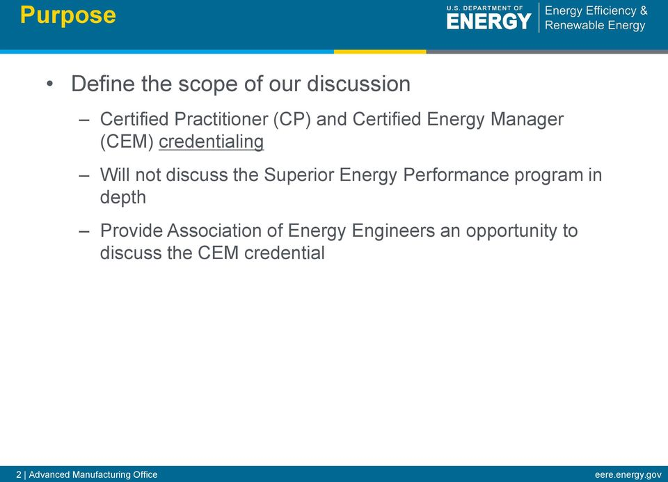 Energy Performance program in depth Provide Association of Energy Engineers an