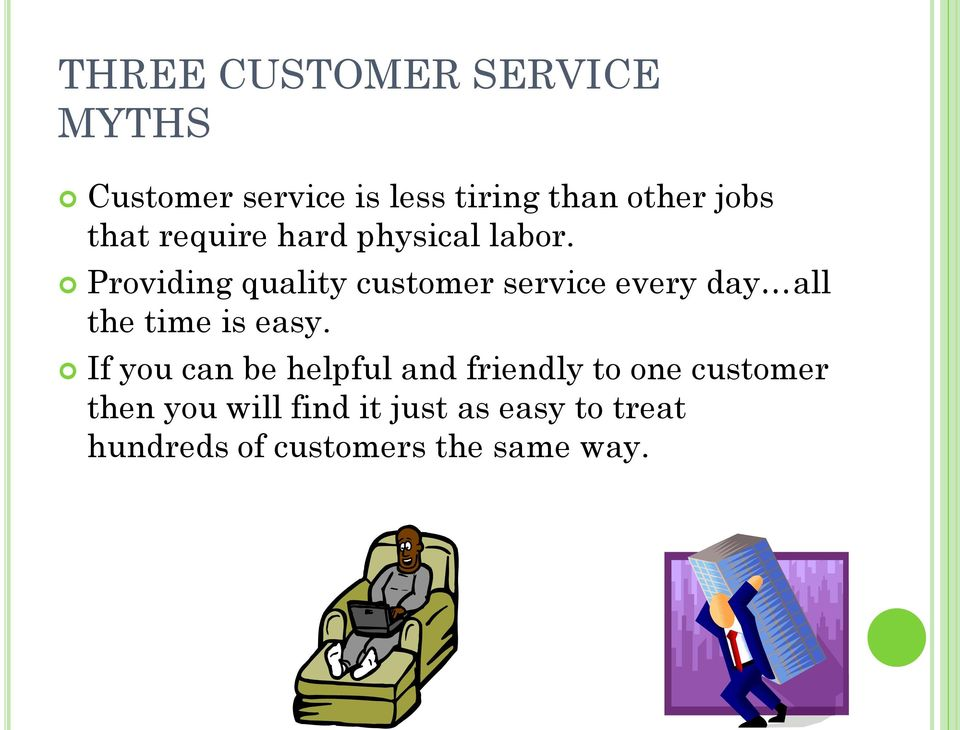 Providing quality customer service every day all the time is easy.