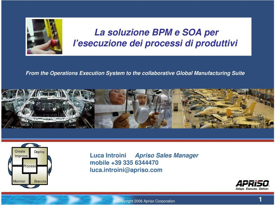 Manufacturing Suite Create Improve Process Deploy Luca Introini Apriso