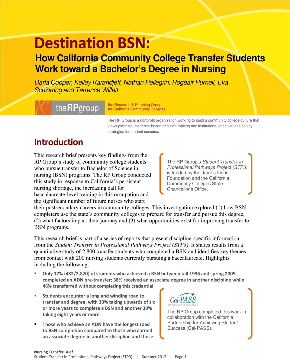 pursue transfer to Bachelor of Science in nursing (BSN) programs.