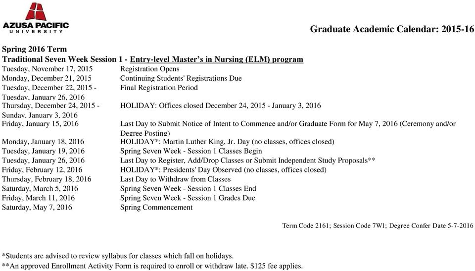 and/or Graduate Form for May 7, 2016 (Ceremony and/or Degree Posting) Monday, January 18, 2016 HOLIDAY*: Martin Luther King, Jr.