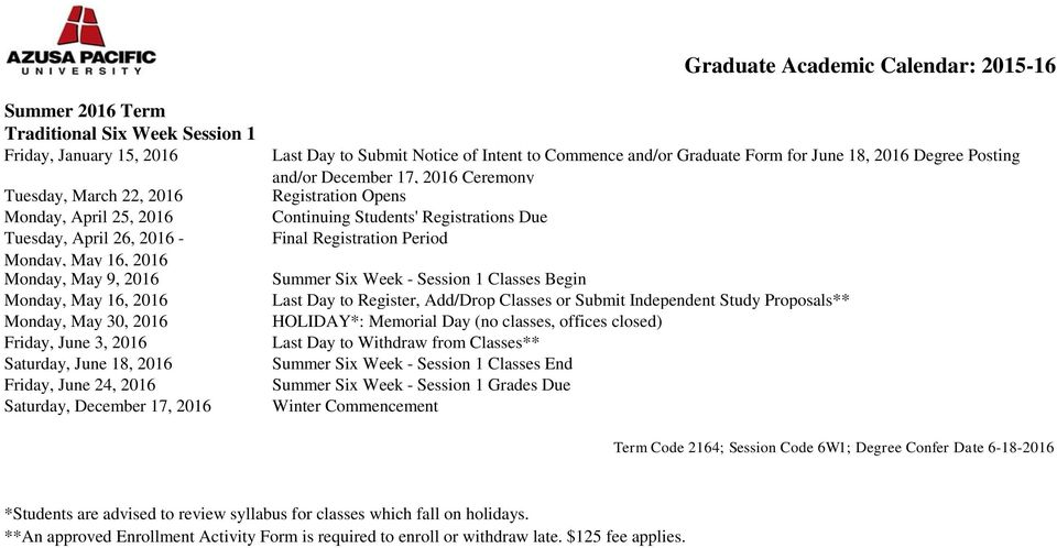Commence and/or Graduate Form for June 18, 2016 Degree Posting and/or December 17, 2016 Ceremony Summer Six Week - Session 1 Classes Begin HOLIDAY*: Memorial Day (no