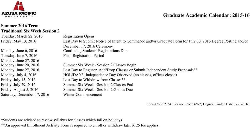 and/or Graduate Form for July 30, 2016 Degree Posting and/or December 17, 2016 Ceremony Summer Six Week - Session 2 Classes Begin HOLIDAY*: Independence Day Observed (no