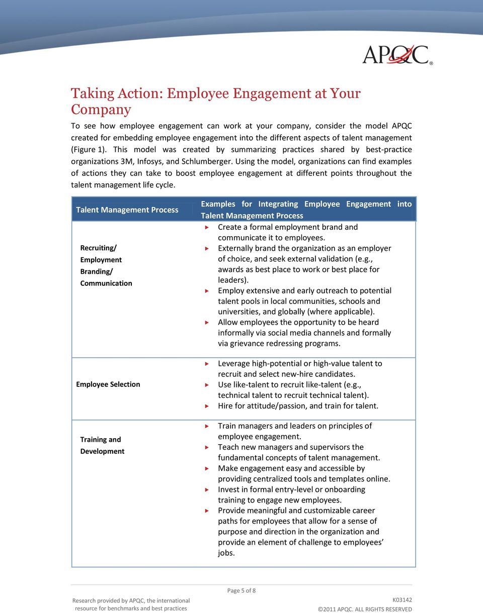 Using the model, organizations can find examples of actions they can take to boost employee engagement at different points throughout the talent management life cycle.