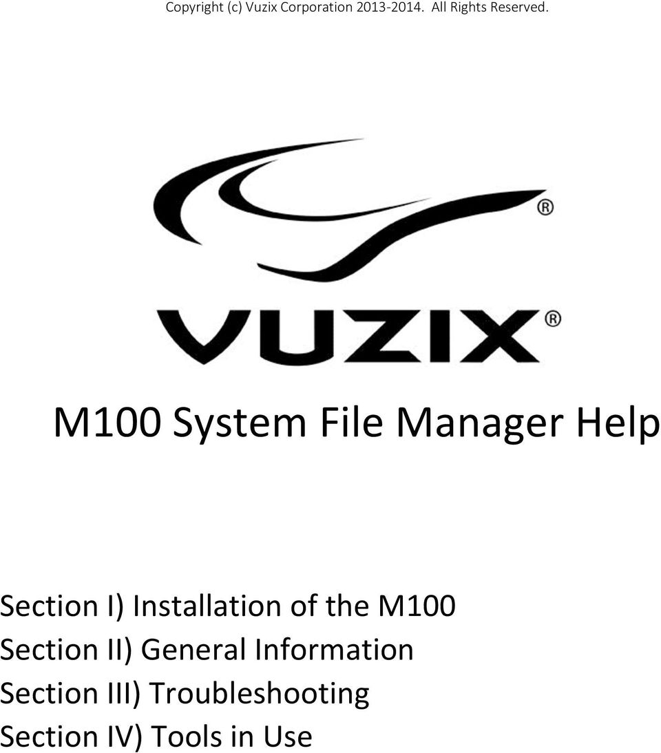 M100 System File Manager Help Section I) Installation