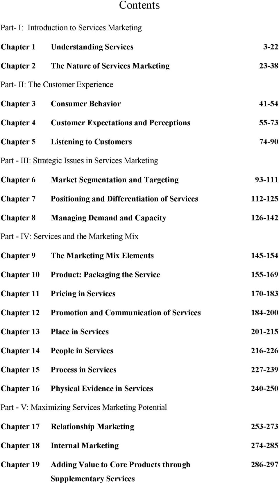 Targeting 93-111 Chapter 7 Positioning and Differentiation of Services 112-125 Chapter 8 Managing Demand and Capacity 126-142 Part - IV: Services and the Marketing Mix Chapter 9 The Marketing Mix