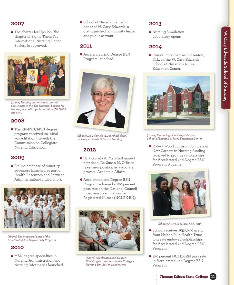Cary Edwards, a distinguished community leader and public servant. 2011 Accelerated 2nd Degree BSN Program launched. 2013 Nursing Simulation Laboratory opens. 2014 Construction begins in Trenton, N.J.