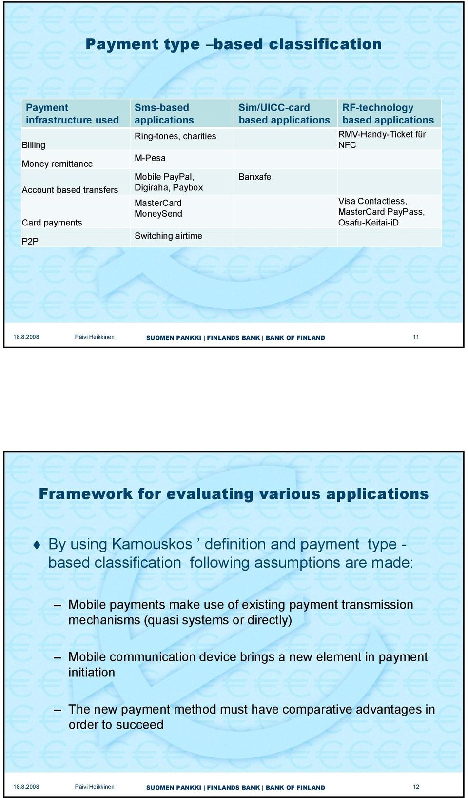 Osafu-Keitai-iD 11 Framework for evaluating various applications By using Karnouskos definition and payment type - based classification following assumptions are made: Mobile payments make use of