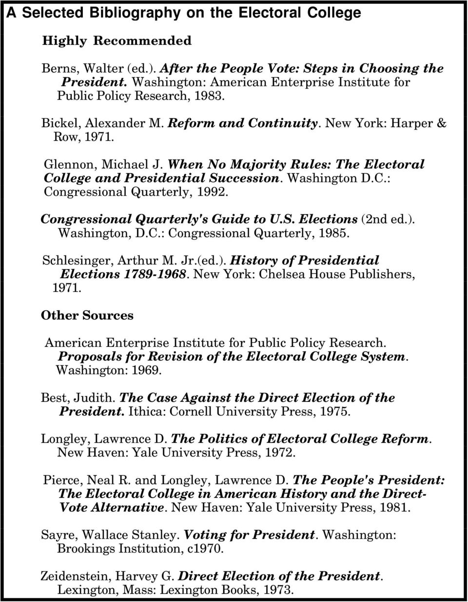 When No Majority Rules: The Electoral College and Presidential Succession. Washington D.C.: Congressional Quarterly, 1992. Congressional Quarterly's Guide to U.S. Elections (2nd ed.). Washington, D.C.: Congressional Quarterly, 1985.