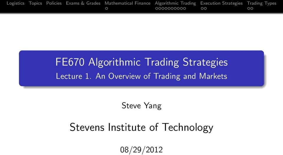 An Overview of Trading and