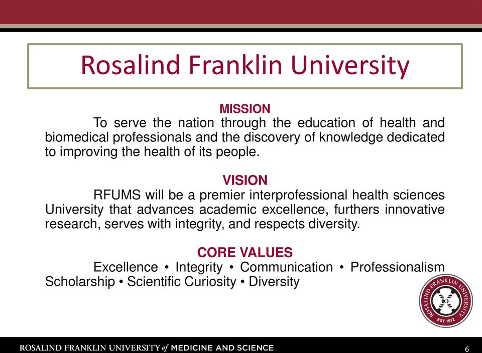 VISION RFUMS will be a premier interprofessional health sciences University that advances academic excellence, furthers