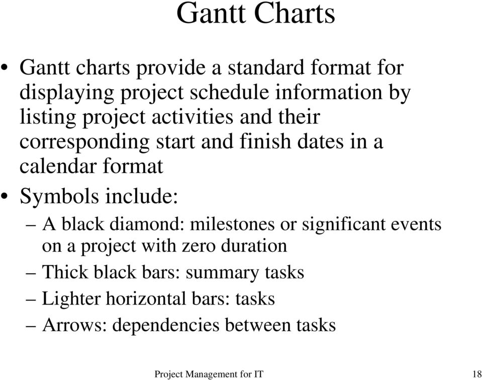 Symbols include: A black diamond: milestones or significant events on a project with zero duration