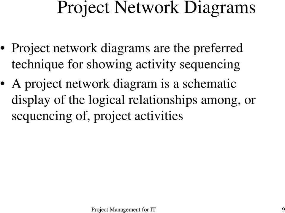 project network diagram is a schematic display of the