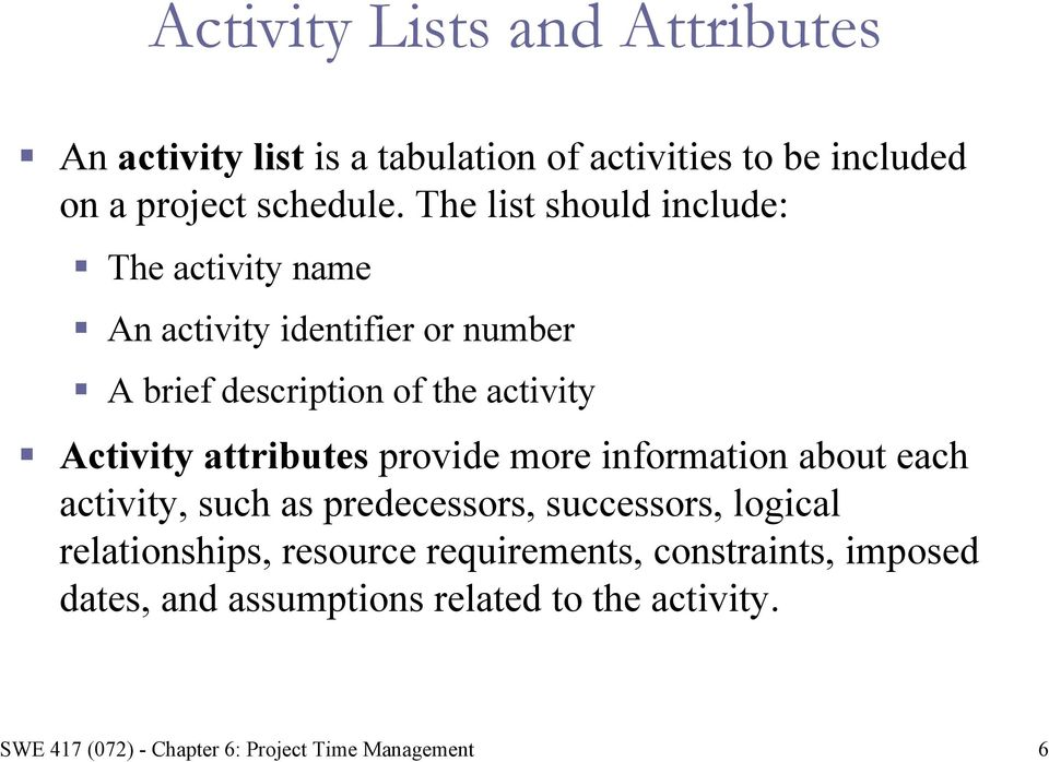 The list should include: The activity name An activity identifier or number A brief description of the
