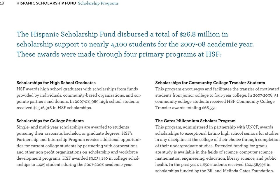 community-based organizations, and corporate partners and donors. In 2007-08, 969 high school students received $2,516,316 in HSF scholarships.