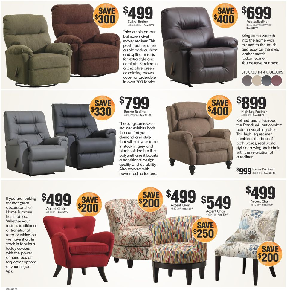 Bring some warmth into the home with this soft to the touch and easy on the eyes leather match rocker recliner. You deserve our best. STOCKED IN 4 COLOURS 330 799 Rocker Recliner 4830-723/725 Reg.