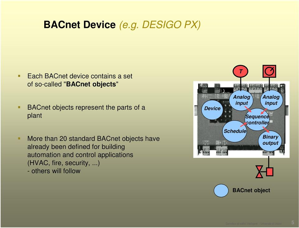 of a plant More than 20 standard BACnet objects have already been defined for building automation and control