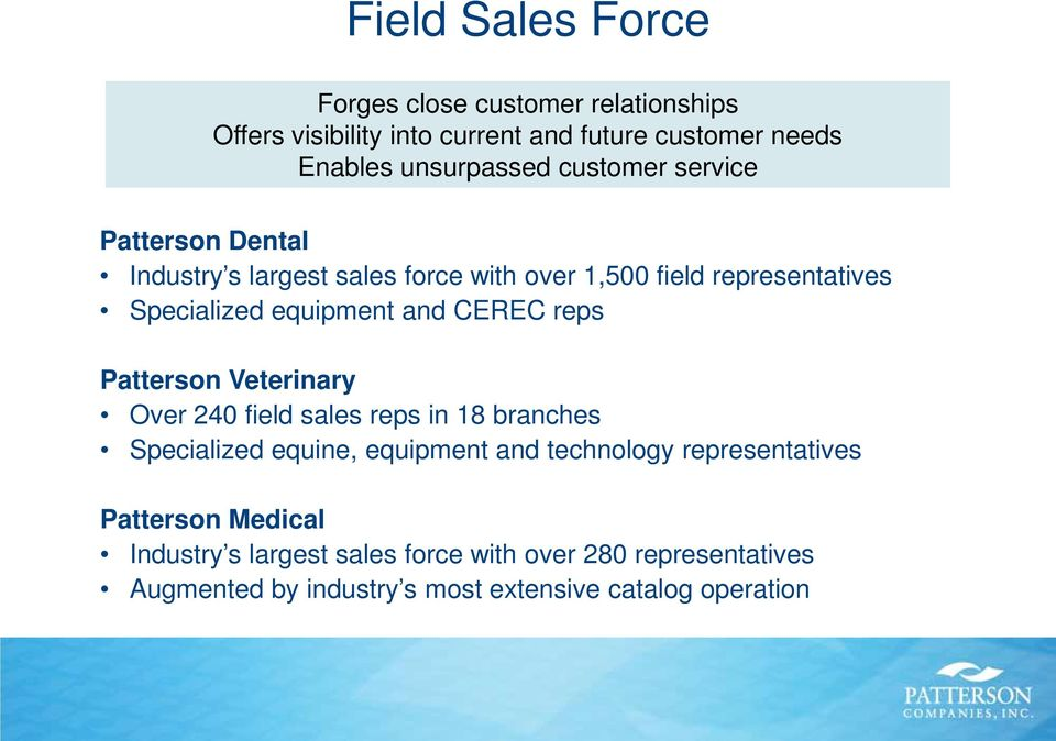 CEREC reps Patterson Veterinary Over 240 field sales reps in 18 branches Specialized equine, equipment and technology