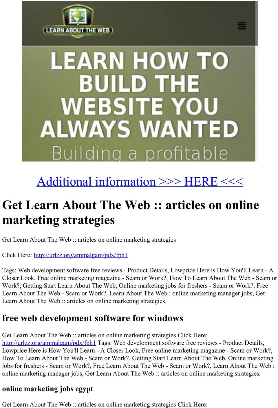 , How To Learn About The Web - Scam or Work?, Getting Start Learn About The Web, Online marketing jobs for freshers - Scam or Work?, Free Learn About The Web - Scam or Work?