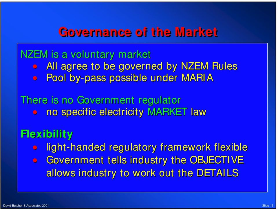 electricity MARKET law Flexibility light-handed handed regulatory framework flexible