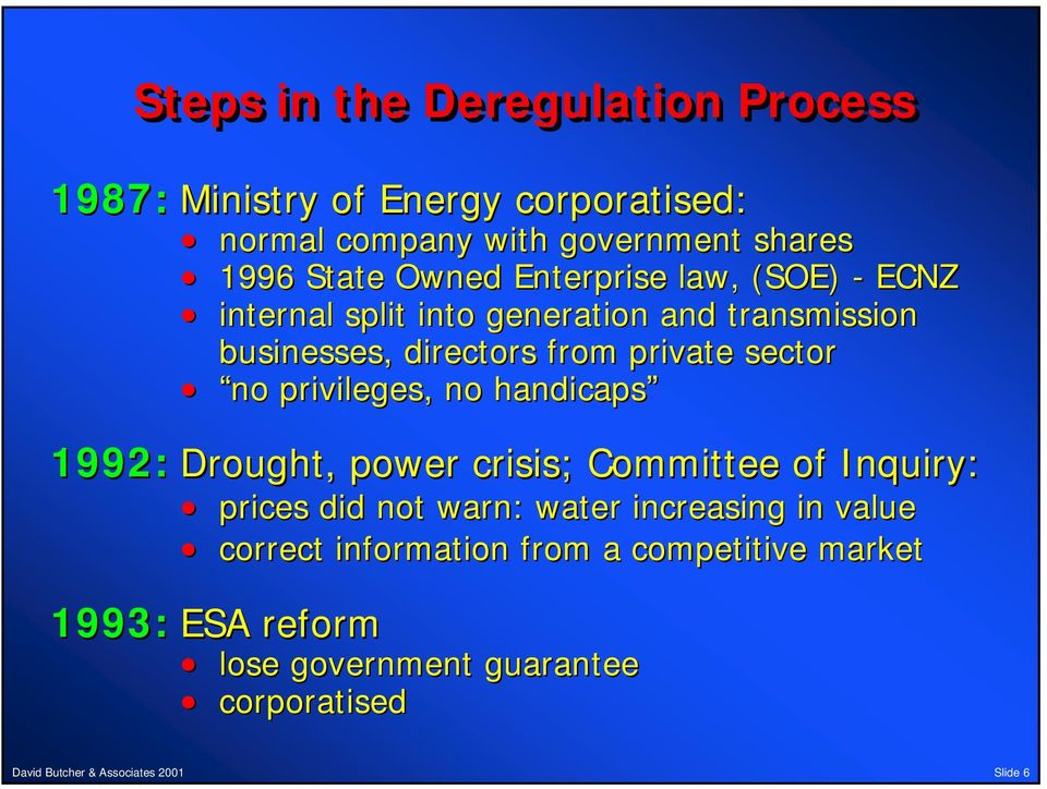 private sector no privileges, no handicaps 1992: Drought, power crisis; Committee of Inquiry: prices did not warn: water