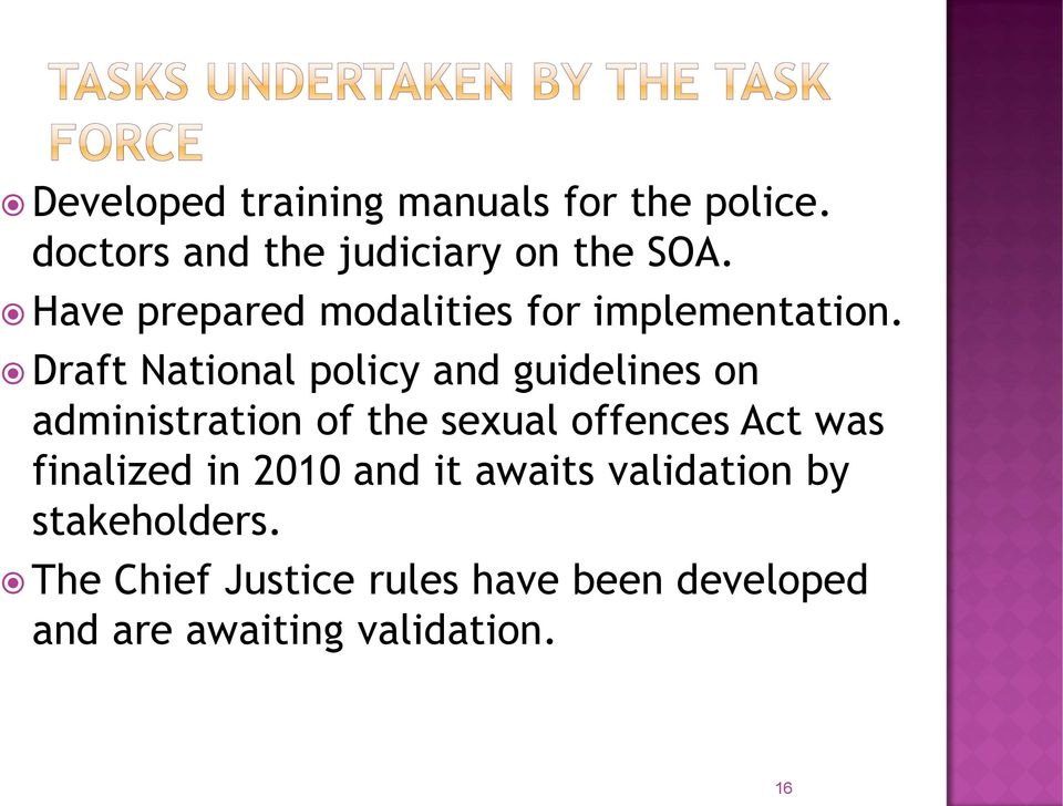 Draft National policy and guidelines on administration of the sexual offences Act was