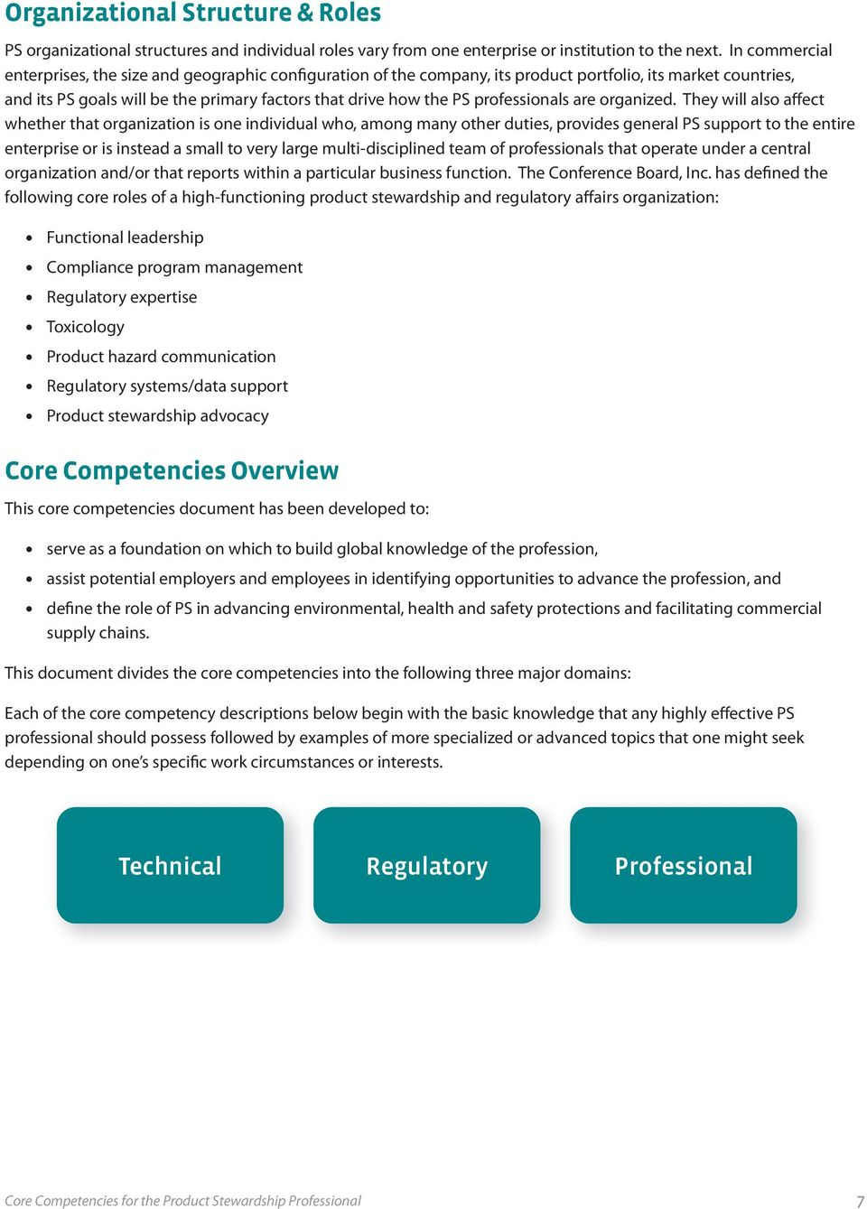 Core Competencies  for the Product Stewardship Professional