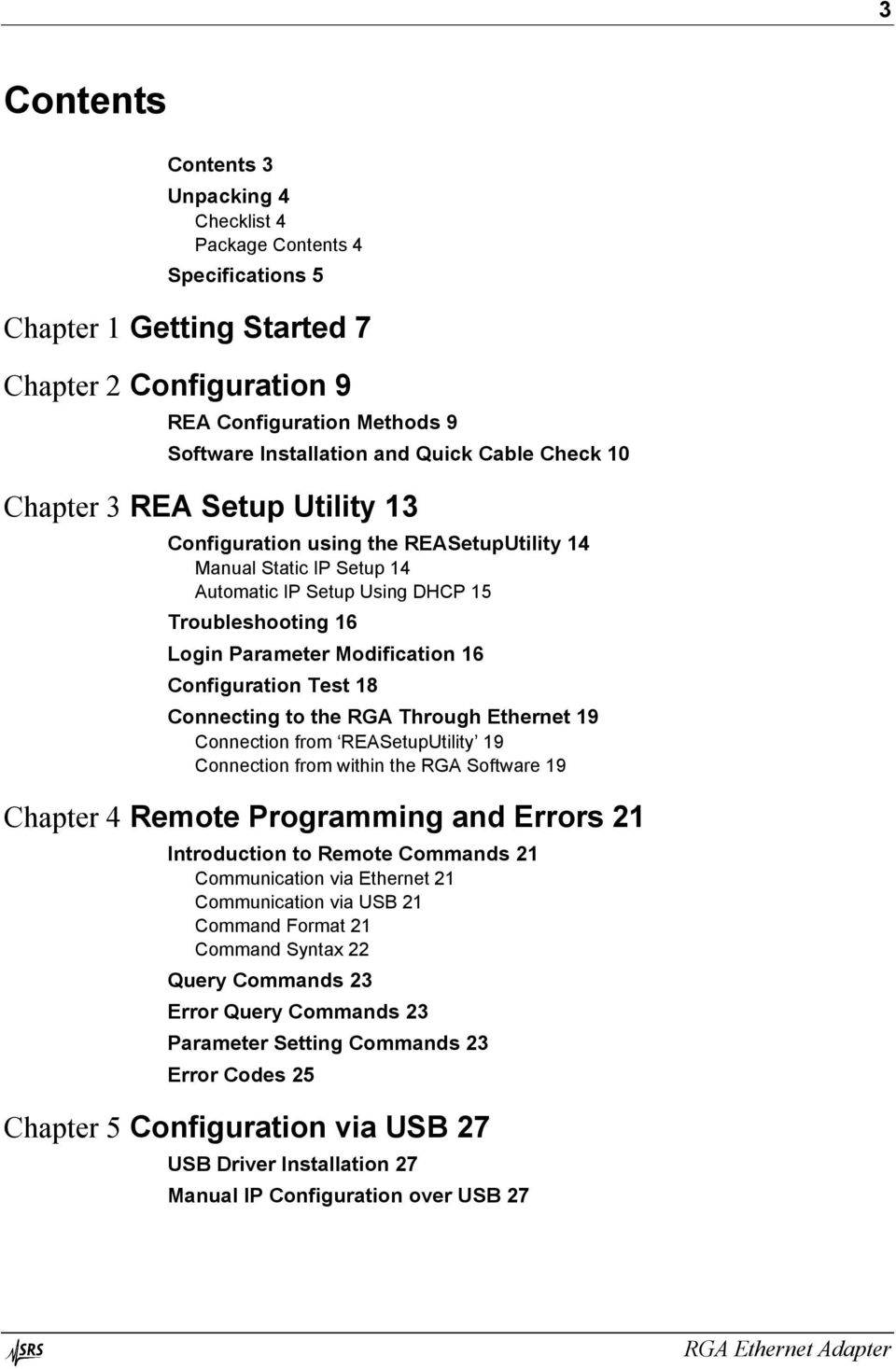 Configuration Test 18 Connecting to the RGA Through Ethernet 19 Connection from REASetupUtility 19 Connection from within the RGA Software 19 Chapter 4 Remote Programming and Errors 21 Introduction