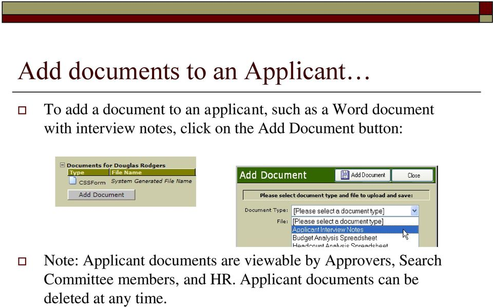 button: Note: Applicant documents are viewable by Approvers, Search