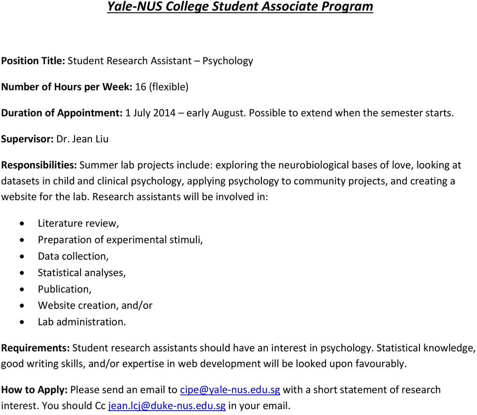 Yale-NUS College Student Associate Program - PDF