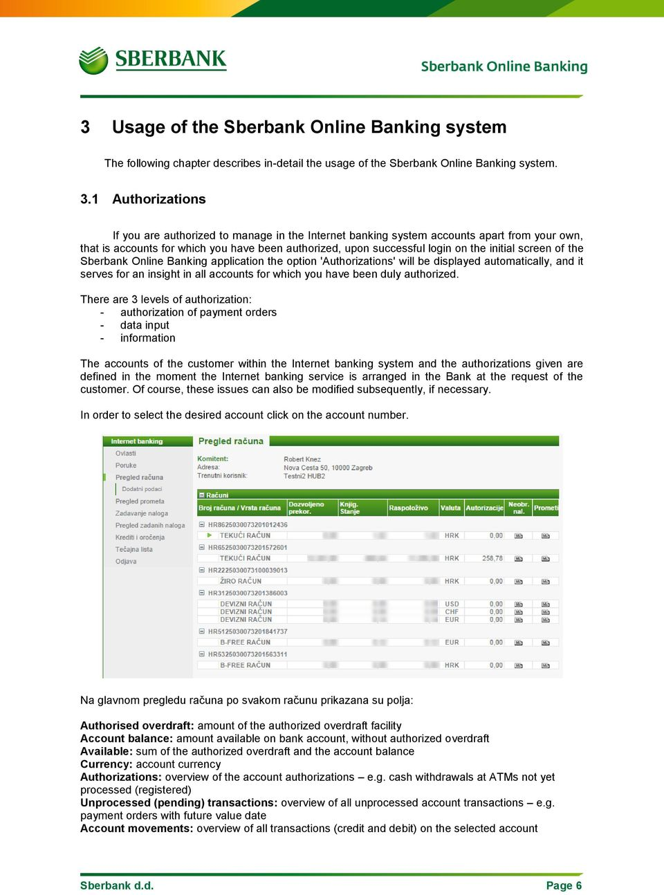 screen of the Sberbank Online Banking application the option 'Authorizations' will be displayed automatically, and it serves for an insight in all accounts for which you have been duly authorized.