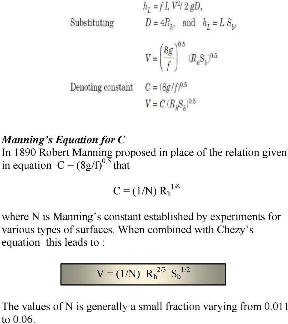 5 that C = (1/N) R h 1/6 where N is Manning s constant established by experiments for various