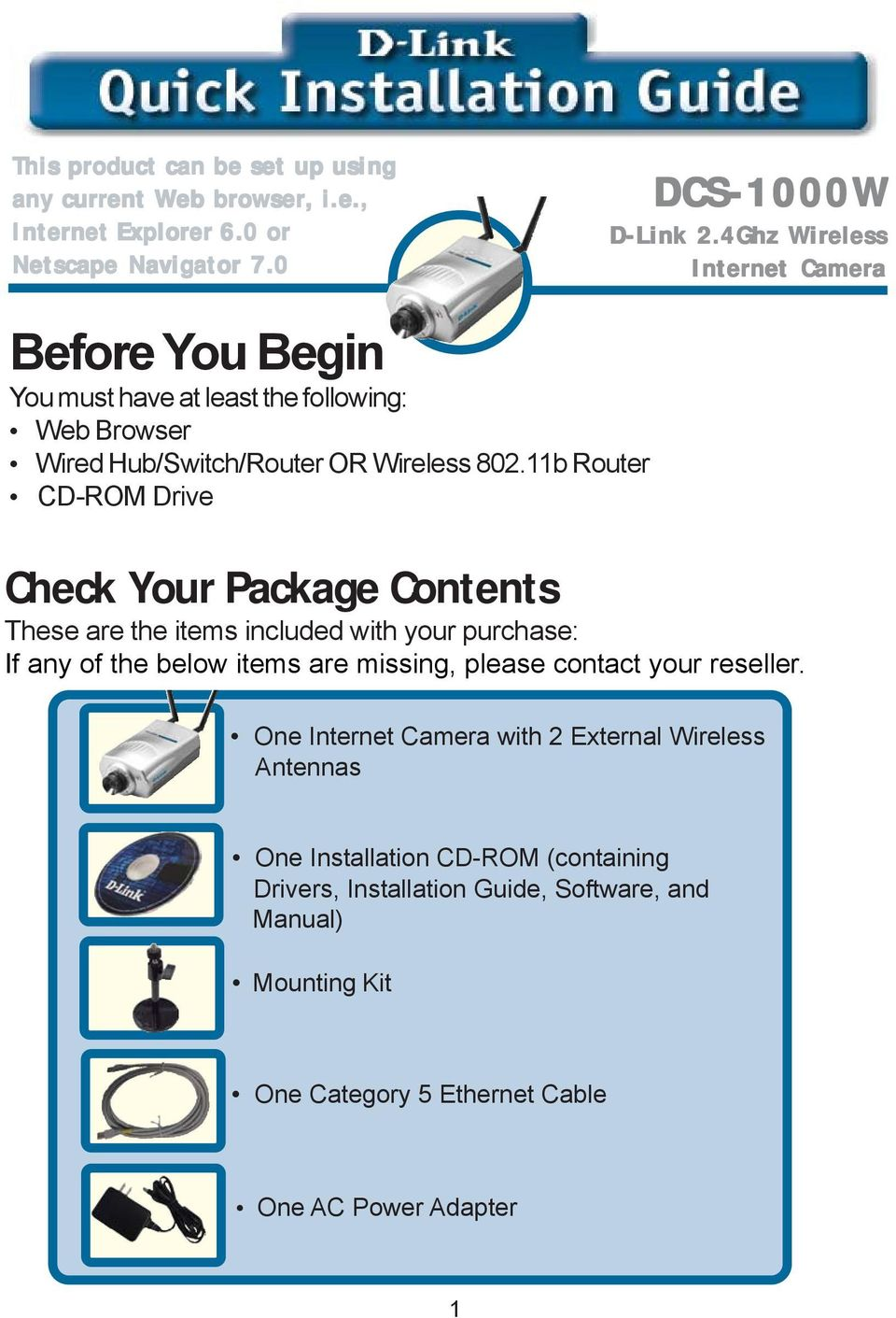 11b Router CD-ROM Drive Check Your Package Contents These are the items included with your purchase: If any of the below items are missing, please contact your