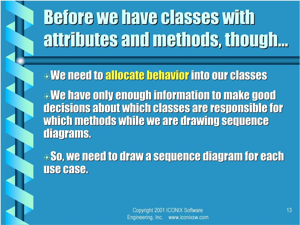 decisions aout which classes are responsile for which methods while we are