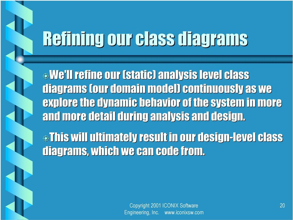 of the system in more and more detail during analysis and design.