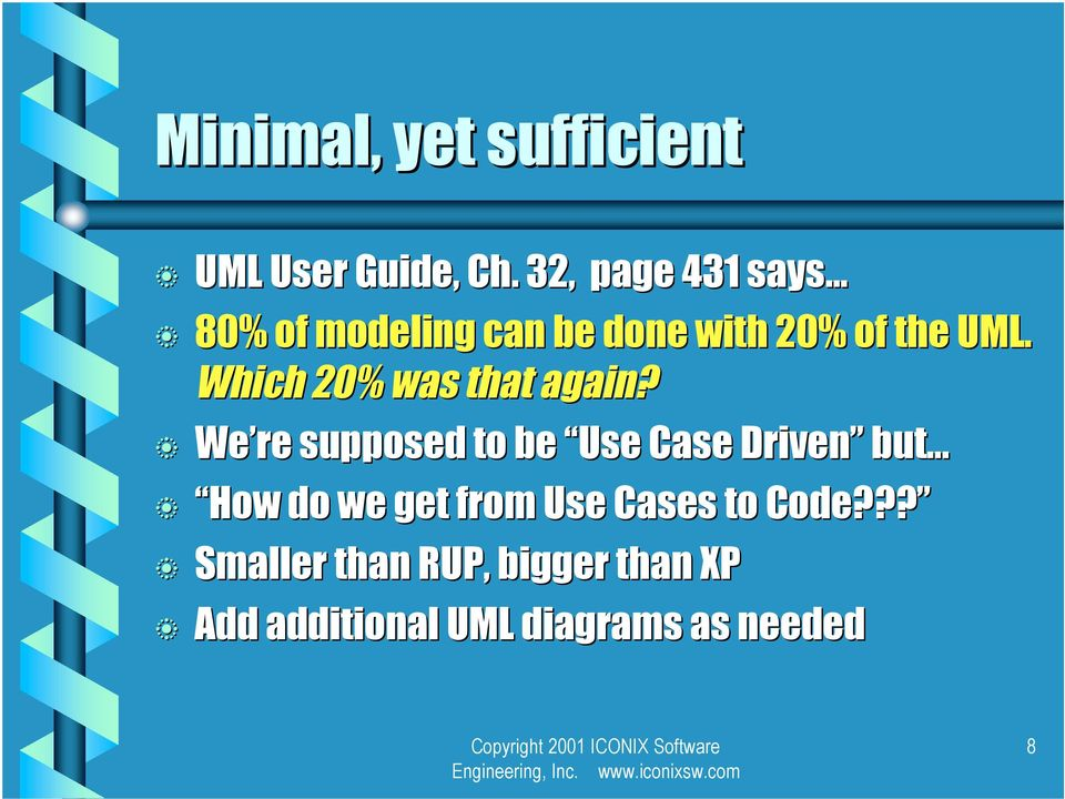 Which 20% was that again? We re supposed to e Use Case Driven ut.