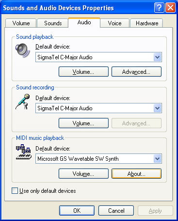11 OTHER FUNCTIONS D When playing through the computer s speaker The [Audio Device] setting is necessary when the audio is emitted via the built-in or connected PC speaker whenever the USB cable is