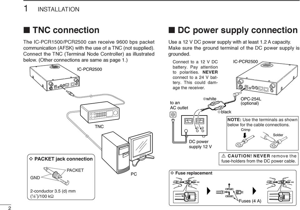 Connect to a 12 V DC battery. Pay attention to polarities. NEVER connect to a 24 V battery. This could damage the receiver.