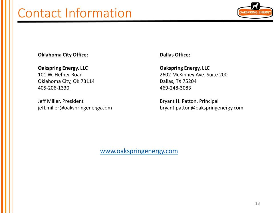 miller@oakspringenergy.com Dallas Office: Oakspring Energy, LLC 2602 McKinney Ave.