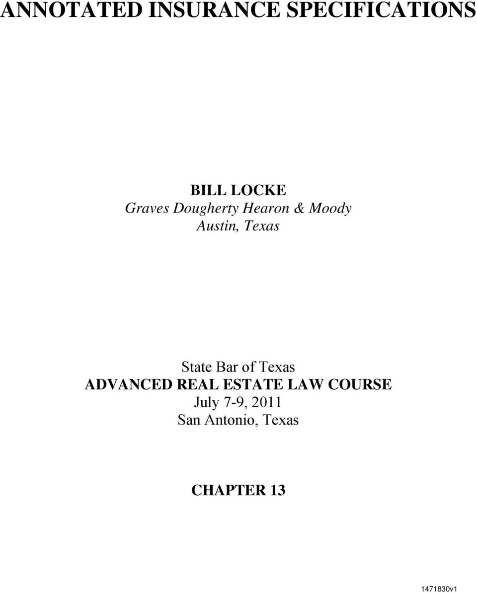 State Bar of Texas ADVANCED REAL ESTATE LAW